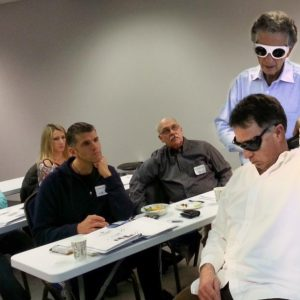Demonstrating laser therapy techniques